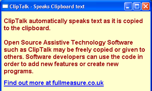 """ClipTalk screenshot describing what ClipTalk does and that it is Open Source Assistive Technology Software that """"may be freely copied or given to others."""""""