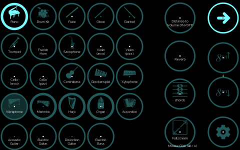 EyeHarp sound options featuring a set of round buttons in black background. The buttons include musical instruments and options for volume, effects, and more.