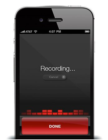 A screen of speech being recorded on a mobile phone.