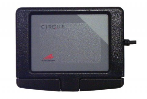 Small, square, wired tablet device with large led screen and two buttons at its base.