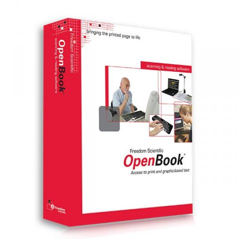 Angled view of rectangular software box with red side and cover of box showing images of people working on a computer against a white background.