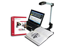 Portable scanner with open book below it and laptop computer on the right side along with software box.