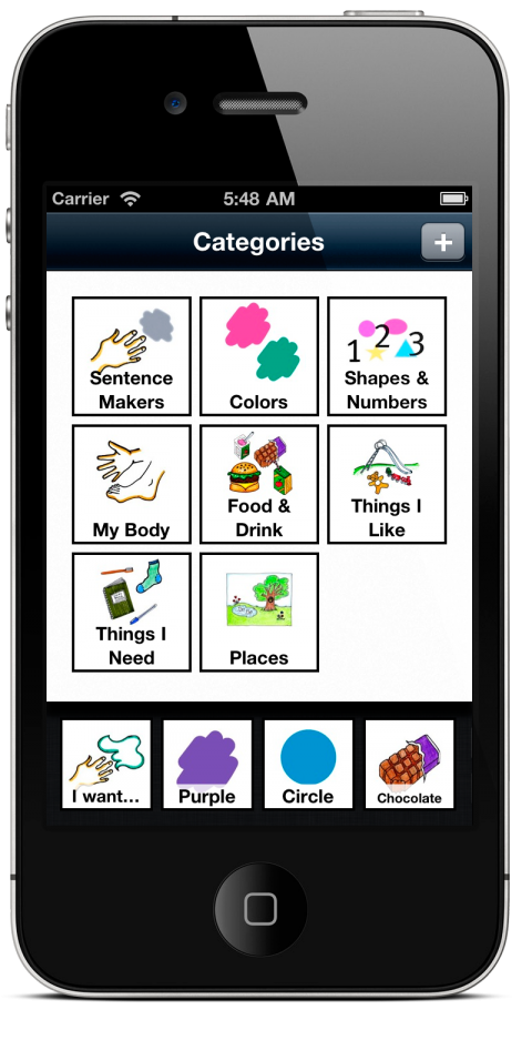 """Grace application in a smartphone featuring the categories menu where users can choose options such as """"sentence markers"""" or """"colors."""""""