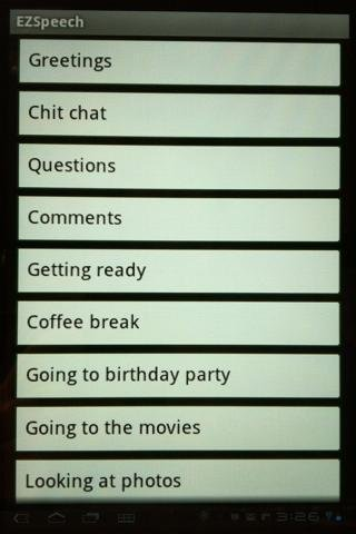 List of categories such as greetings, chit chat, questions, comments, and other options.