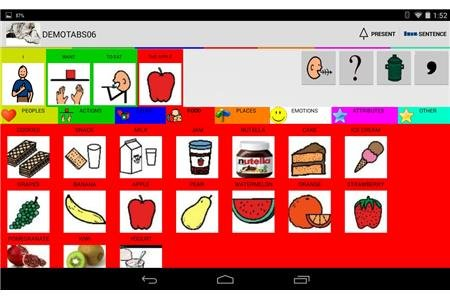 "AAC board with food pictograms and the sentence ""I want to eat an apple"" in the sentence builder."