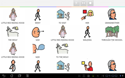 Little Red Riding Hood story with pictograms to go with each word.