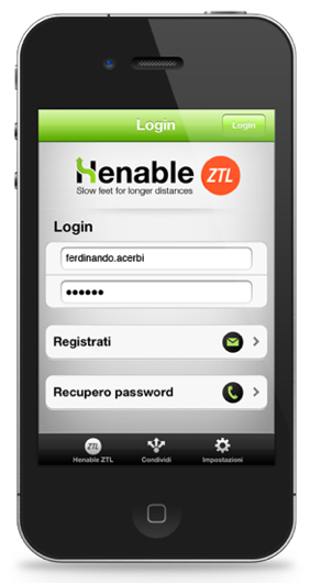app login screen on smartphone