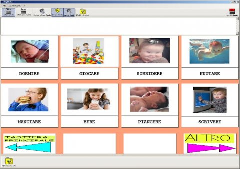 Screenshot of KeyClicker AAC board that has a 3x4 grid of images and symbols.
