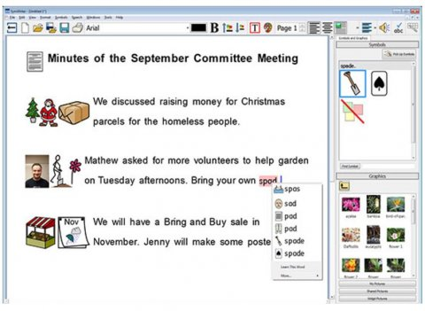 Screenshot of the program showing the notes from a committee meeting with symbols on the right and text notes on the left. A menu bar is on the far right.