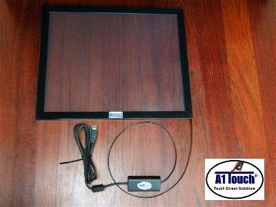 A square glass screen with a black frame and a black cord attached to one of the edges.