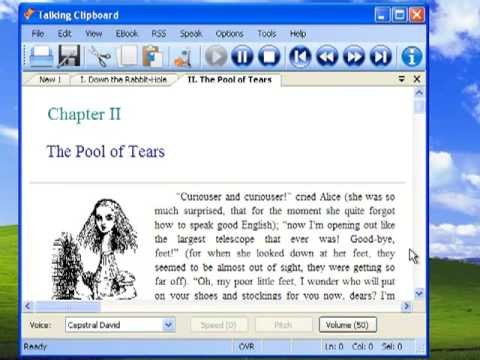 """Talking Clipboard reading text from """"The Pool of Tears"""" from Alice in Wonderland."""
