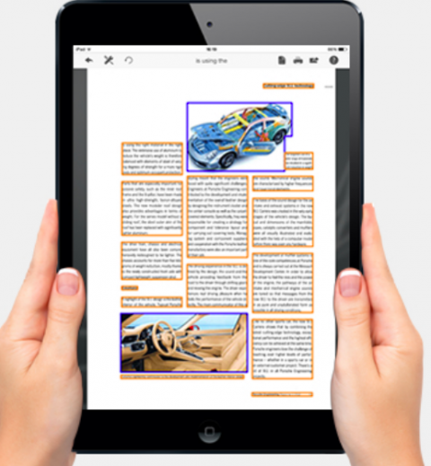 An iPad with text and images. Each paragraph, subtitle, and caption is outlined with a gold box; the images are each in a purple outlined box.