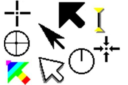 Large and colorful cursors and pointers.