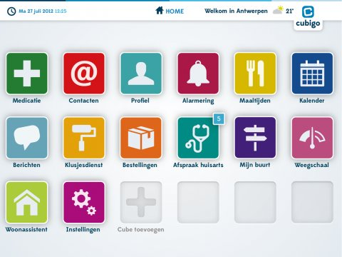Cubigo interface screen with menu options such as a calendar, an alarm, and a thermometer with icons above.