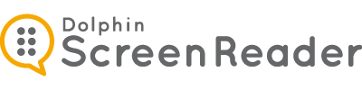 ScreenReader logo showing a conversation bubble on the left filled with six dots and the world Screen Reader next to it.