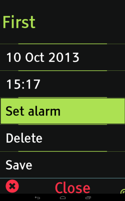 Equaleyes Accessibility for set alarm screen featuring a date, time and options: Set alarm, delete, save, and close.