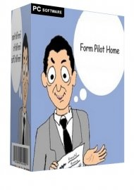 """Form Pilot software packaging with a light blue box and a cartoon drawing of a man with paper in his hand. He has a thought bubble with """"FormPilot Home"""" written."""