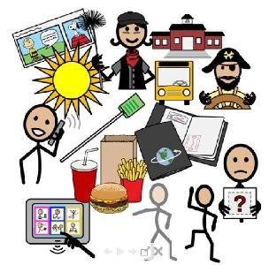 Drawn symbols, such as a pirate, the sun, stick figures, cartoon frame, french fries, burger, and a drink.