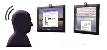 Two computer screens with head trackers and a figure with the head in motion in front of the screens.