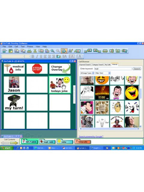Screenshot of a personalized grid menu being created from images in the GoTalk Overlay Software library.