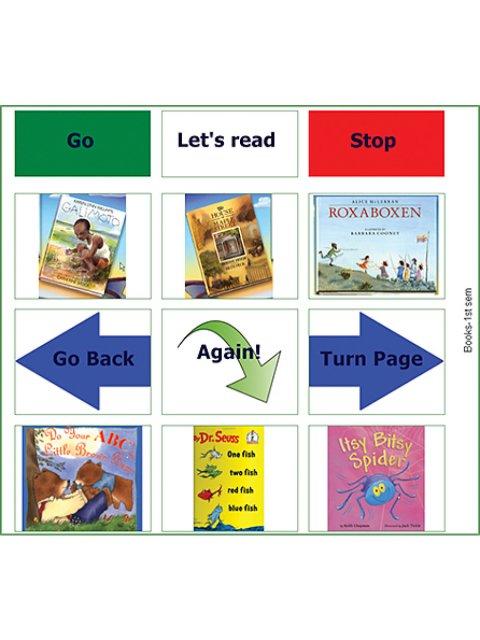 GoTalk Overlay Software book selection and navigation menu.