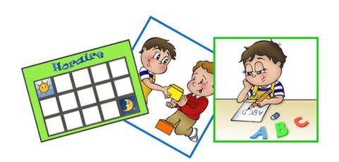 Illustration of three pictograms.