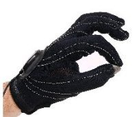 Hand wearing a black glove, with the pointer finger and thumb touching together.