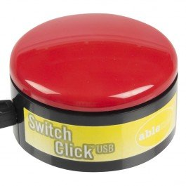 Cylindrical yellow-and-black switch base with red button on top.