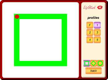 The Lipstick program with a red dot at the top-left corner of a square boarder with selection buttons in a panel to the right.