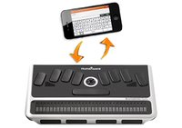Braille keyboard and iPhone interface with arrows indicating back and forth communication.