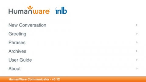Screen shot of HumanWare Communicator menu: new conversation, greeting, phrases, archives, user guide, about.