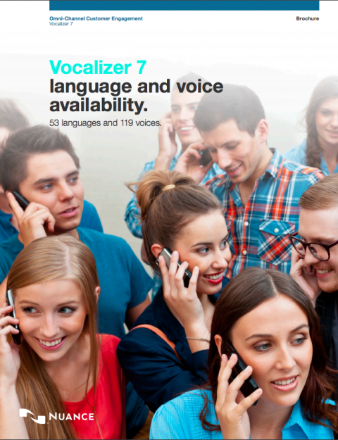 Image of group of people on phones with Vocalizer description across top.
