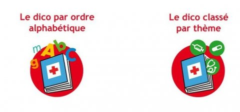 Icons for the health dictionary, which includes a book with a red cross in the middle.