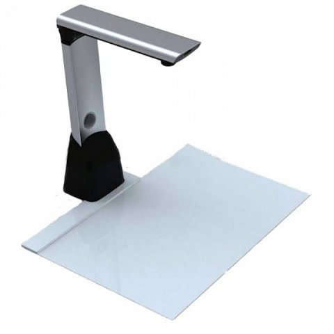 A free-standing pedestal scanner with a camera scanner reaching over a grey rectangle.