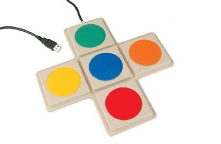 Five different colored round switch buttons connected in a cross orientation, shown with USB connector.