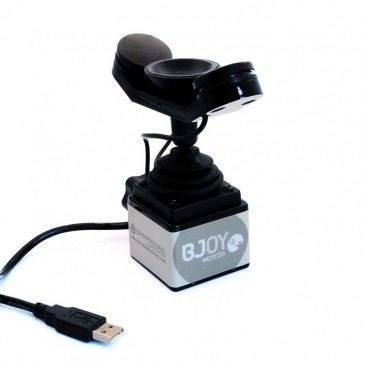 Chin-rest on joystick with usb cable.