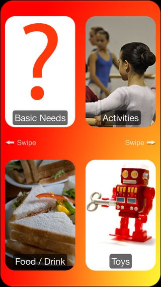 """Screenshot four communication categories for children to choose from, including """"basic needs"""", """"activities"""", """"food/drink"""", and """"toys""""."""