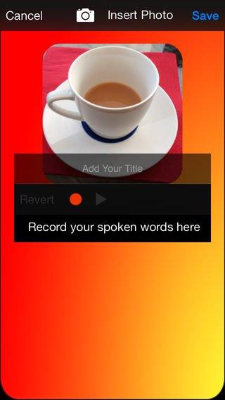 Adding photos and voice recording screen.