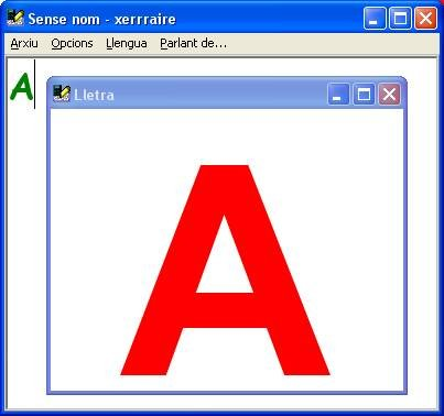 Large letter A in window in front of text box.