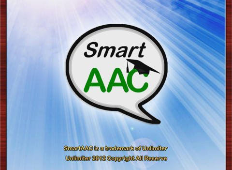 """Smart AAC Logo showing a white speech bubble with the word """"smart"""" written in black letters on the first line and on the second line, in green capital letters, the letters AAC.  The C has a graduation cap on it."""