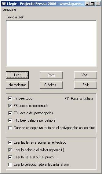 Llegir text input box with menu options below.