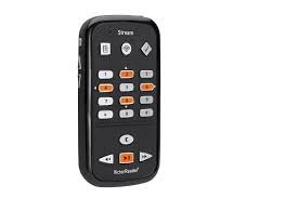 A black vertical, rectangular device similar looking to a small cell phone. There are 19 buttons on the device to control the various functions of the reader.
