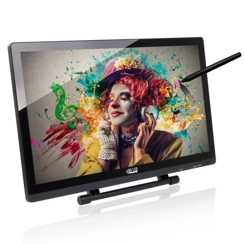 wide screen tablet with picture display of clown and a black stylus