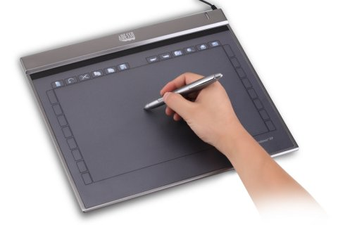 rectangular, dark gray tablet in use with a hand holding a stylus