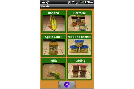 AAC board with food pictures on a smartphone screen.