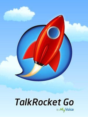 Talkrocket Go Logo, made up of a red rocket enclosed in a blue speech bubble, overlaying a blue, cloudy sky background.