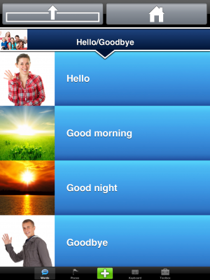 Screenshot of an app menu featuring various phrases in blue rectangles and including a corresponding image.
