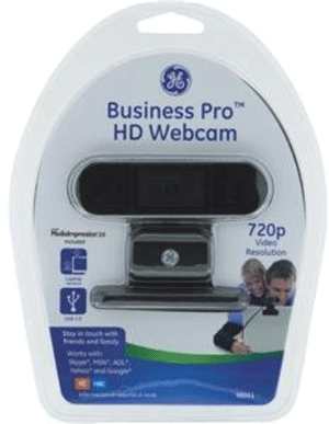 Business Pro HD Webcam in packaging: an oblong object atop a stand and base.