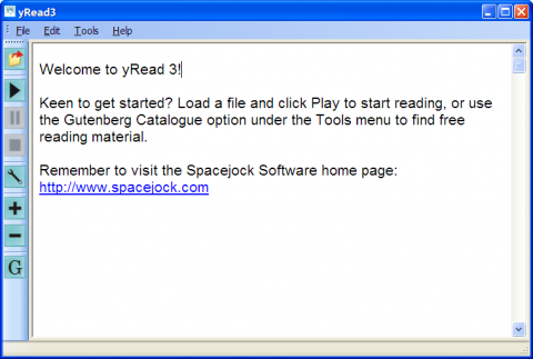 YRead interface with a text file open and few control button on left side panel.