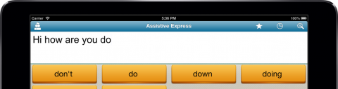 White text input on iPad with black text and orange word prediction buttons.